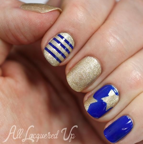 Blue With Golden Memorial Day Nails
