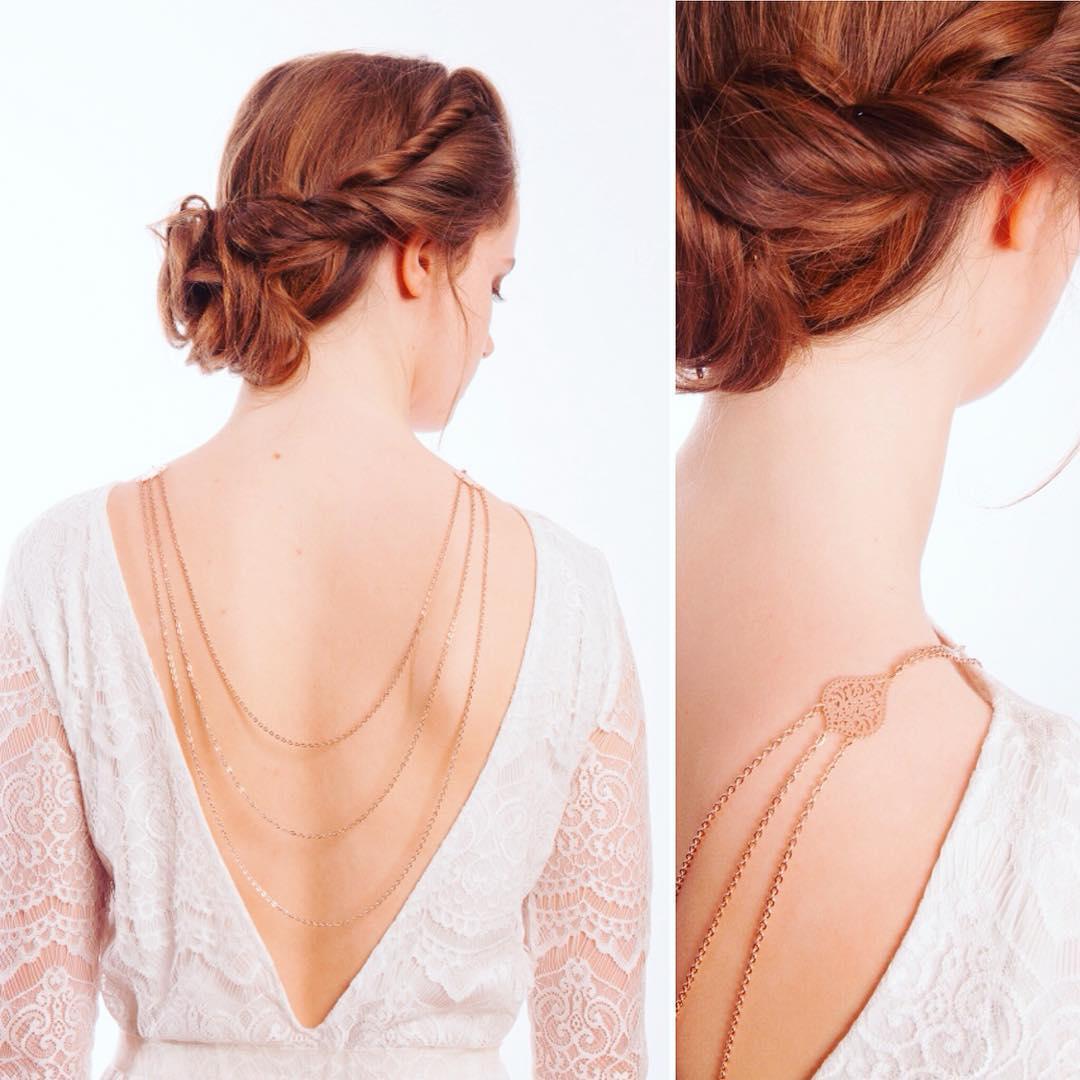 Boho Style Rose Gold Back Necklace