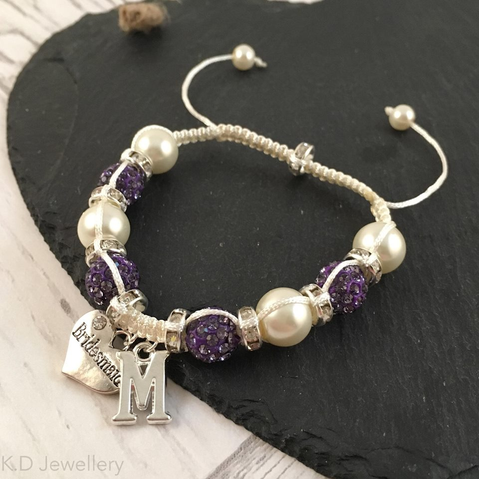 bridemaid charm crystal and pearl bracelet
