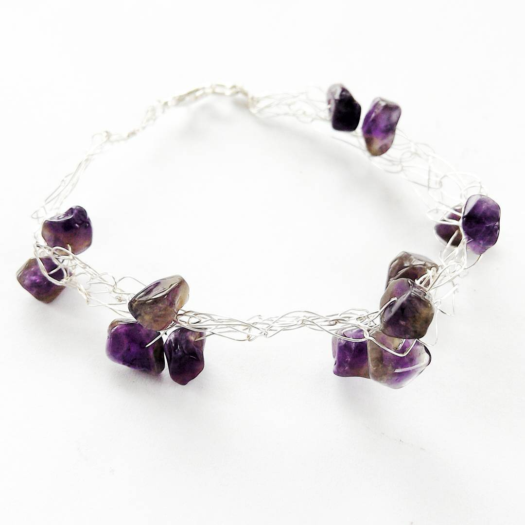 Bright Silver Wire Weaves Amethyst Crystals Bracelet