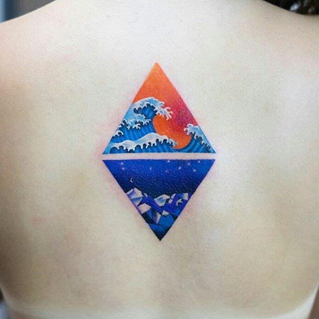 Colored Miniature Ocean Tattoo
