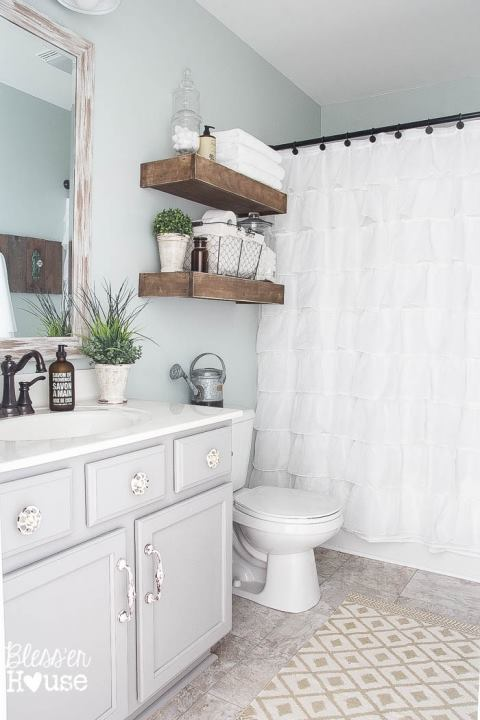 Comfortable White Theme With Wooden Vanity And Storage