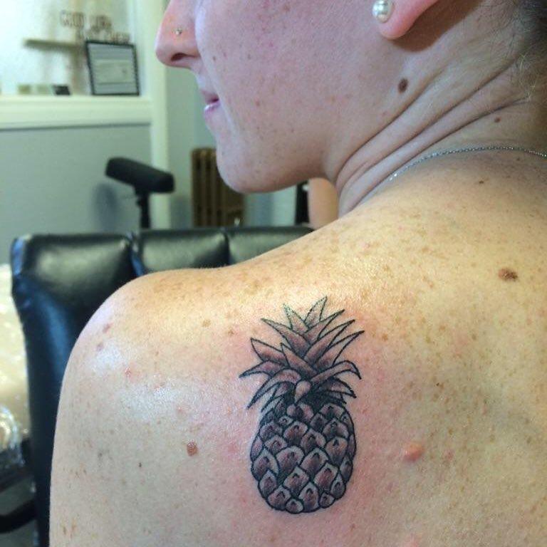 Cute Black & Grey Pineapple On Back Shoulder
