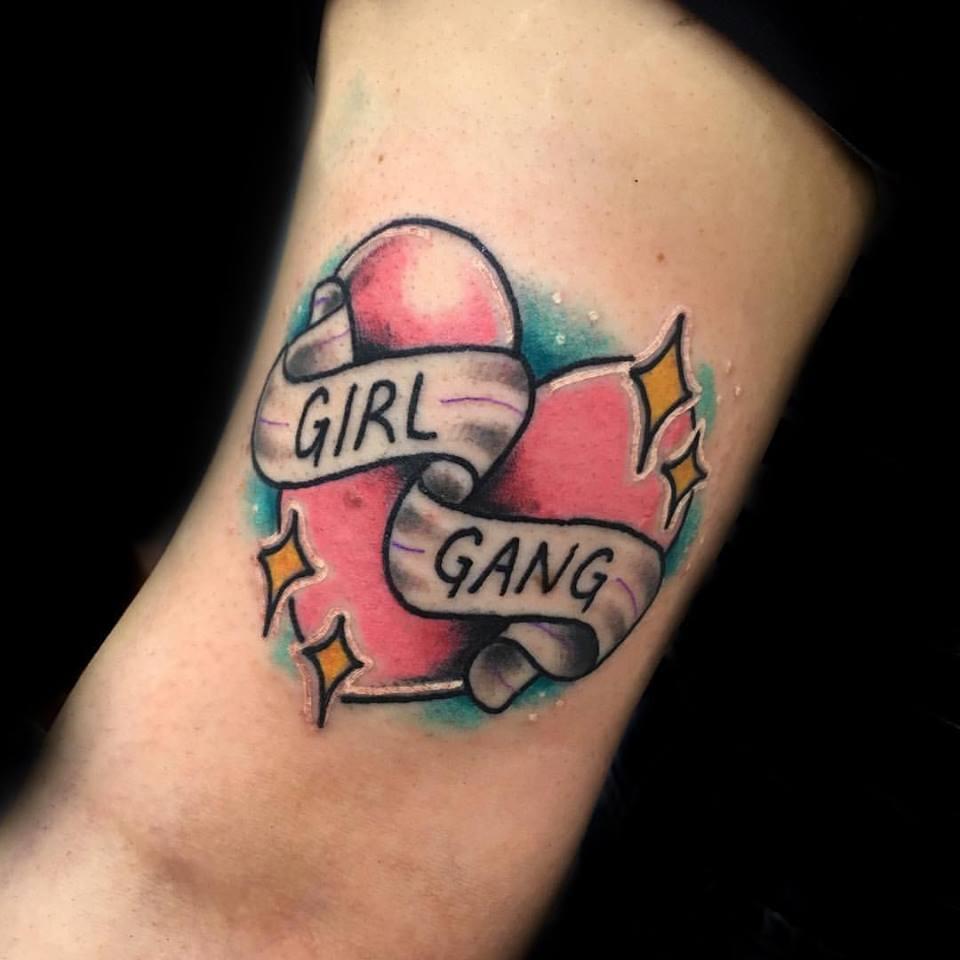 Cute Girl Gang Tattoo In Heart Shape