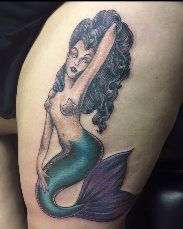 Cute Little Mermaid On Thigh