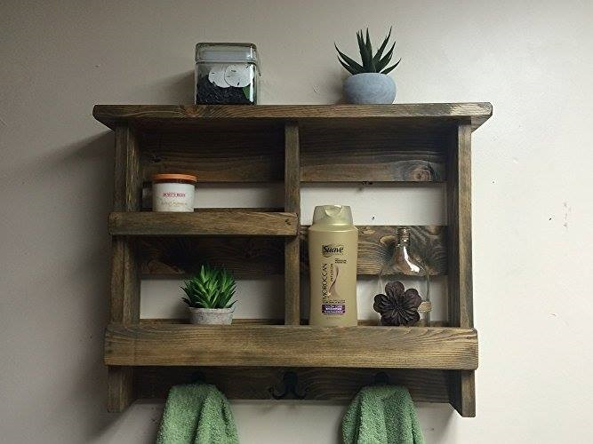 DIY Wooden Towal Rack With Metal Hooks