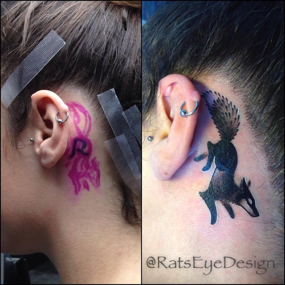 Dot Work Fox Tattoo Idea