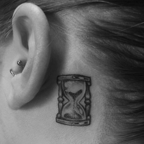 Fantastic Tunnel Tattoo Inked Behind The Ear