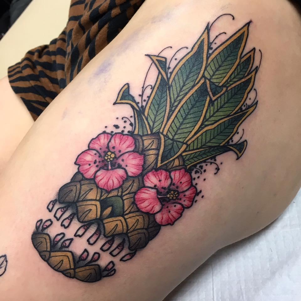 Funny Pineapple Tattoo Idea