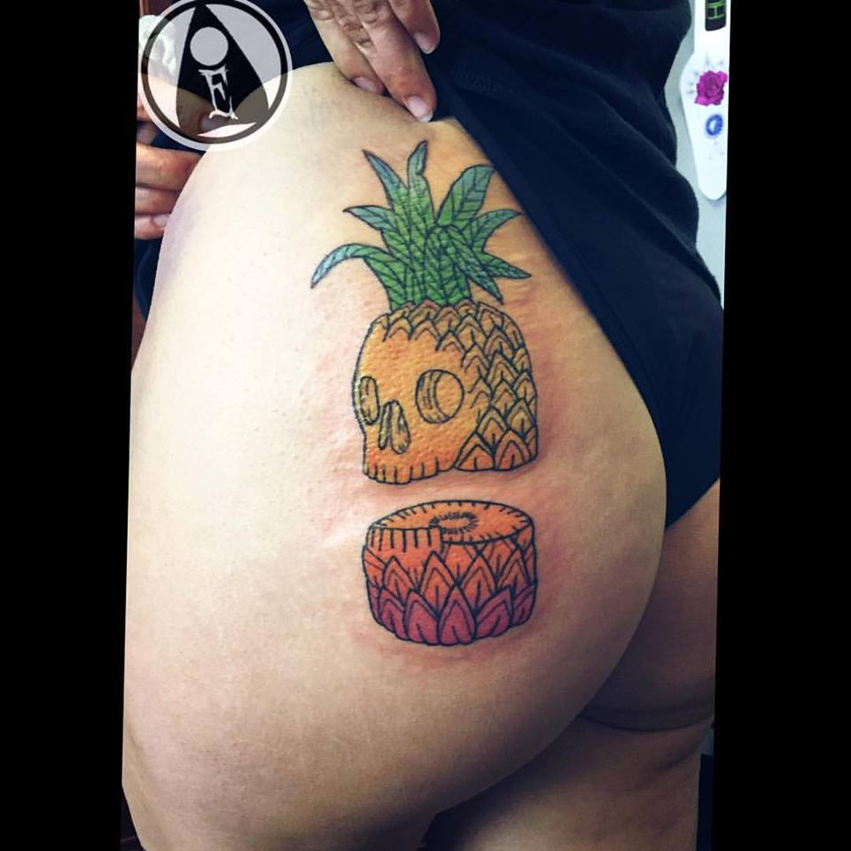 Gorgeous Pineapple Butt Tattoo
