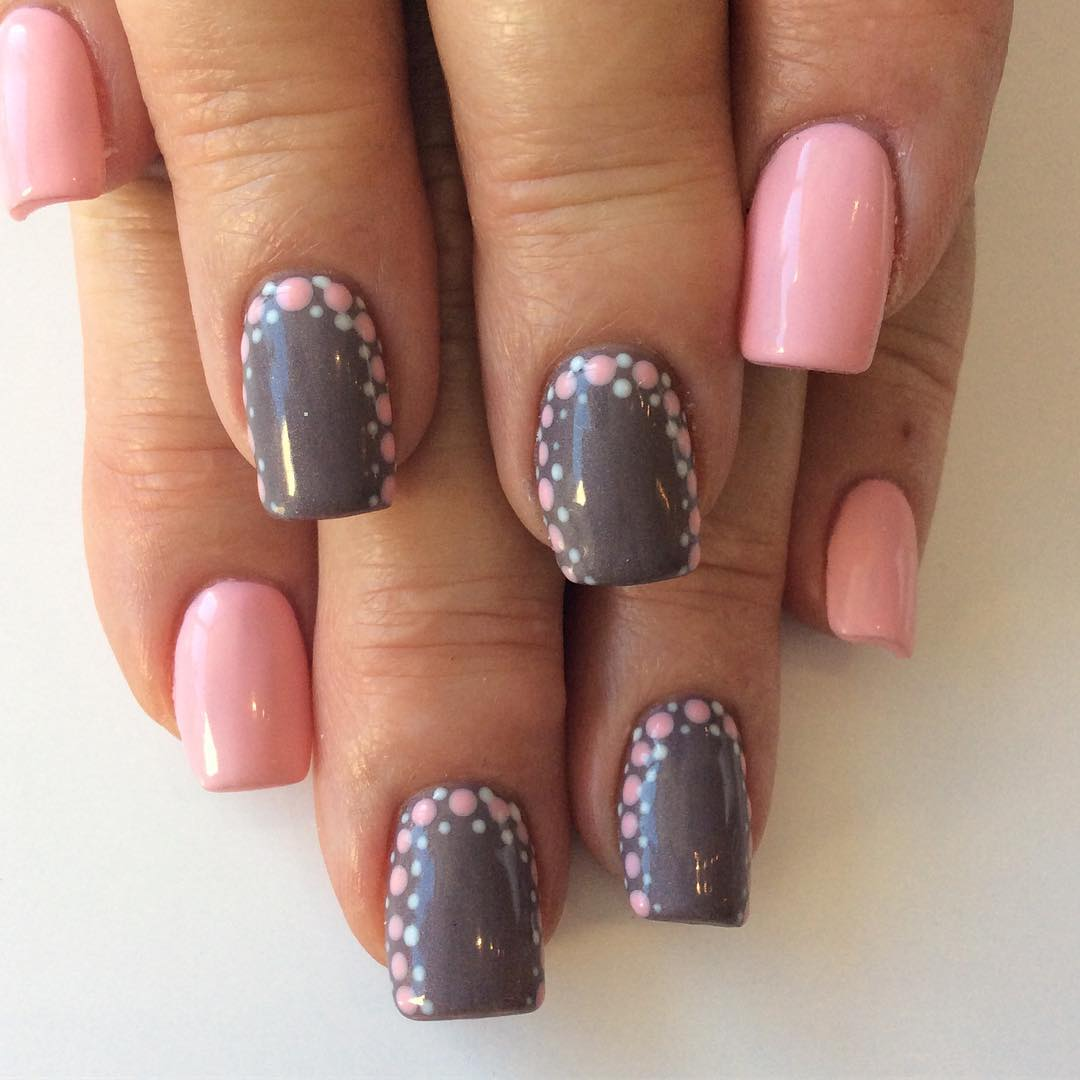 Grey And Soft Pink Nails With Pink Polka Dots - Blurmark
