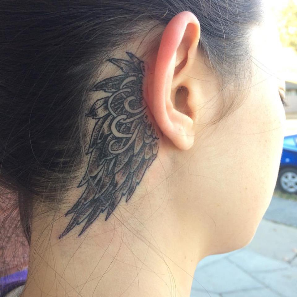 Grey & Black Wing Inked Behind The Ear