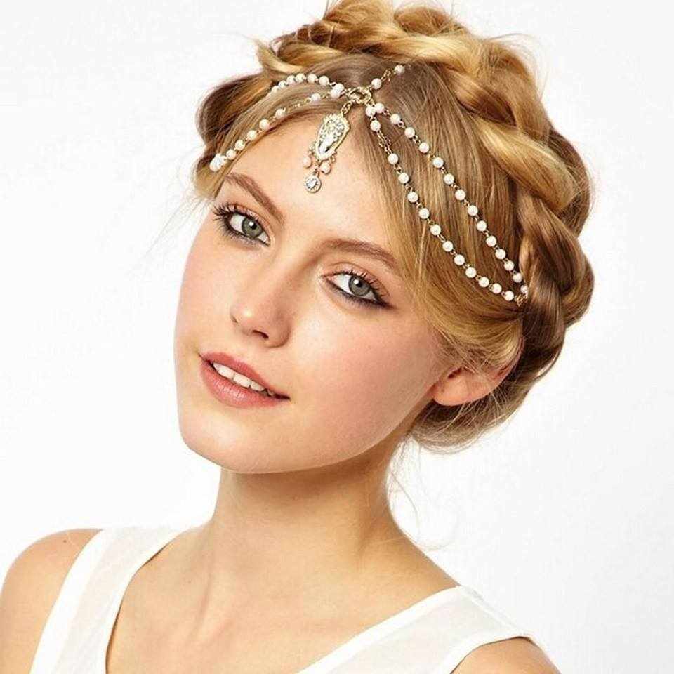 Hairchain Of Metal Beaded Pearl
