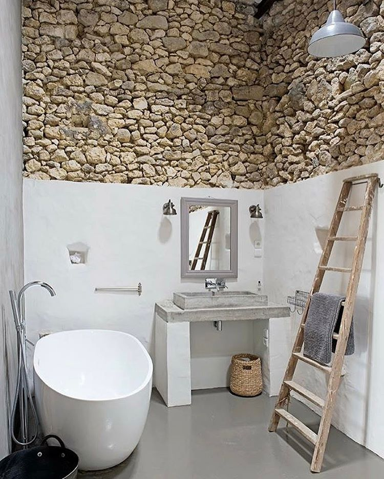 Half Stone Wall With Old Ladder Perfect For Rustic Decor