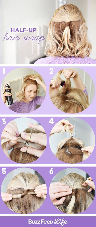 Half Up Hairwrap Easy Tutorial