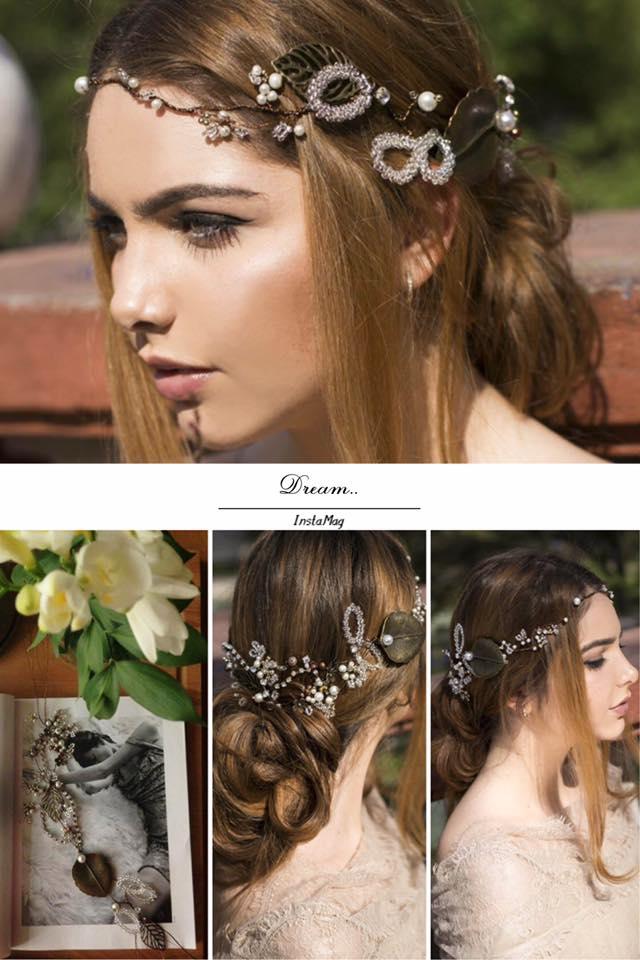 Handmade Pearls Swarovski Crystal Hairvile