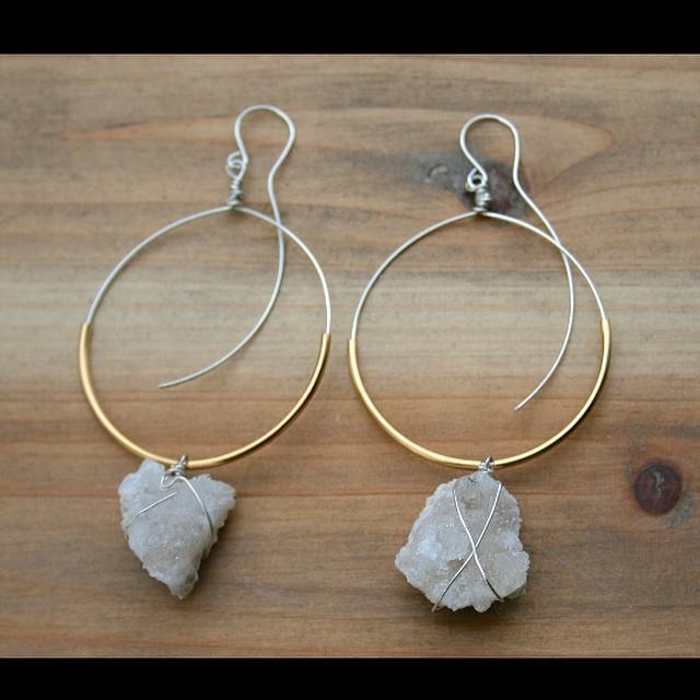 Handmade Wire Wred Sterling Silver Hoop Earrings