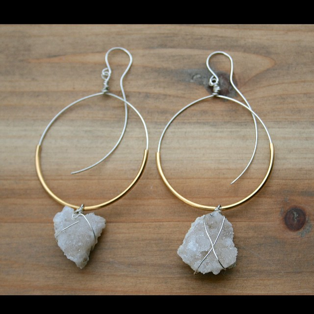 Handmade Wire Wrapped Sterling Silver Hoop Earrings