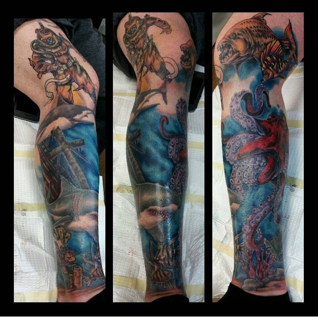 Incredible Colored Leg Ocean Tattoo With Shark, Octopus