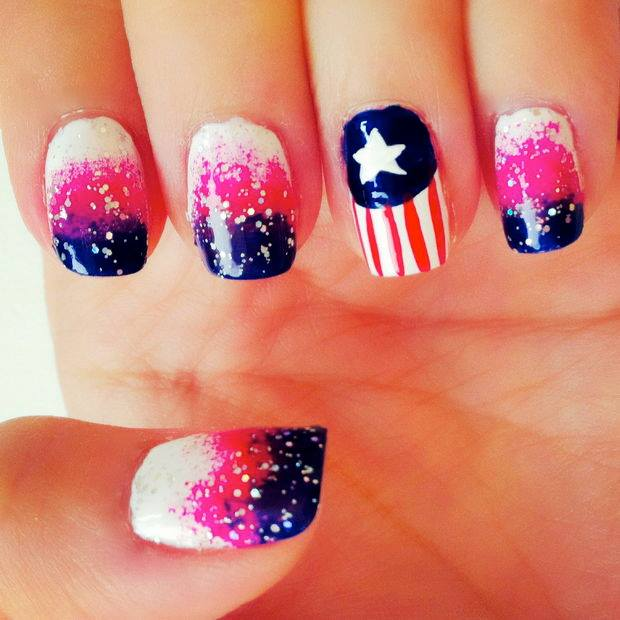 Independence Day Of USA Nail Art