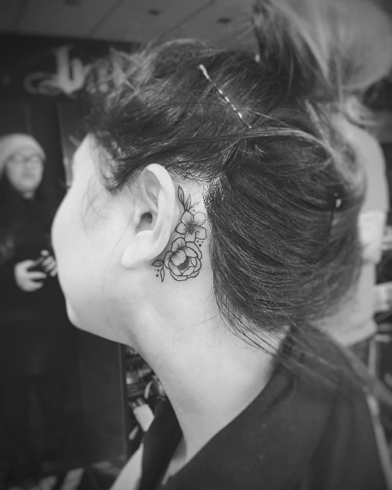 Line Work Floral Tattoo