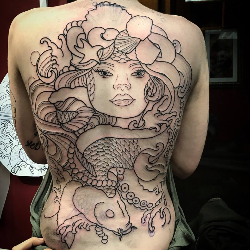 Line Work Mermaid Tattoo On Back
