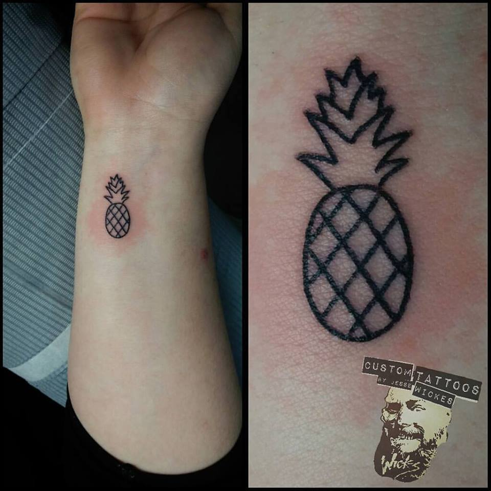 Line Work Pineapple On Wrist