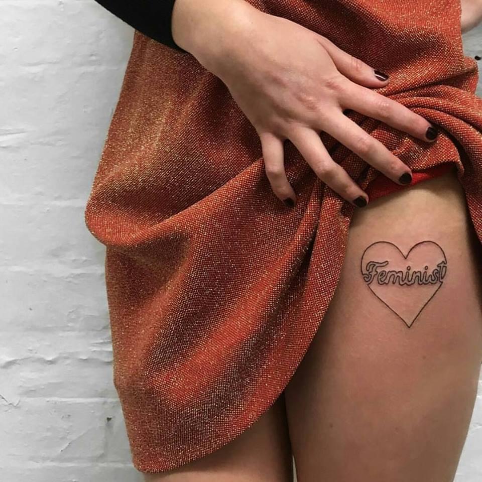 Line Work Tattoo On Thigh