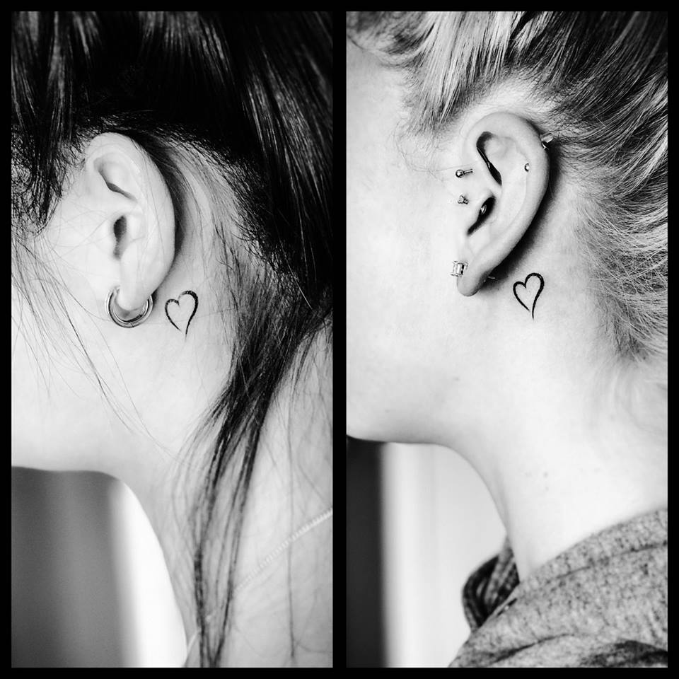 70 best behind the ear tattoos for women for Heart tattoo behind ear