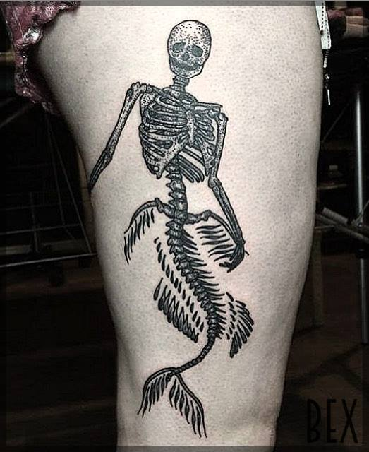 Mermaid Skeleton On Thigh