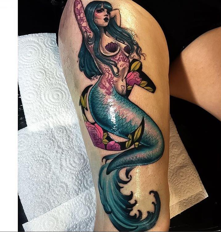 Mermaid With Anchor And Flowers