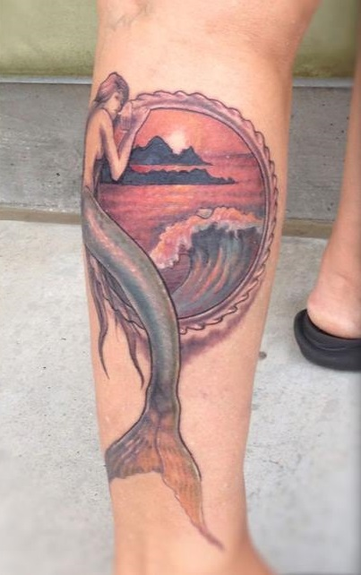Mermaid With Mirror On Lower Leg