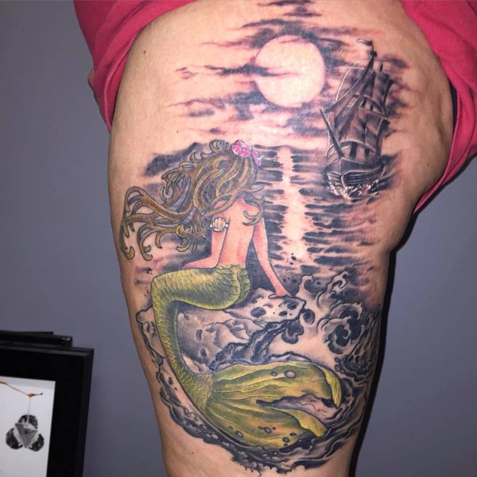 Mermaid With Moon On Thigh