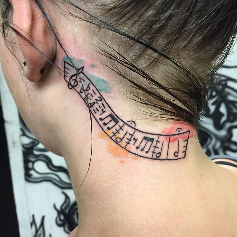 Music note tattoos behind ear  Tattoowise