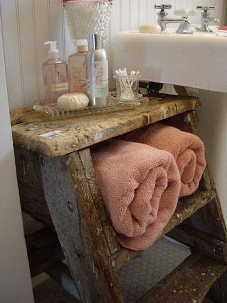 Old Ladder Used As Towel Stand