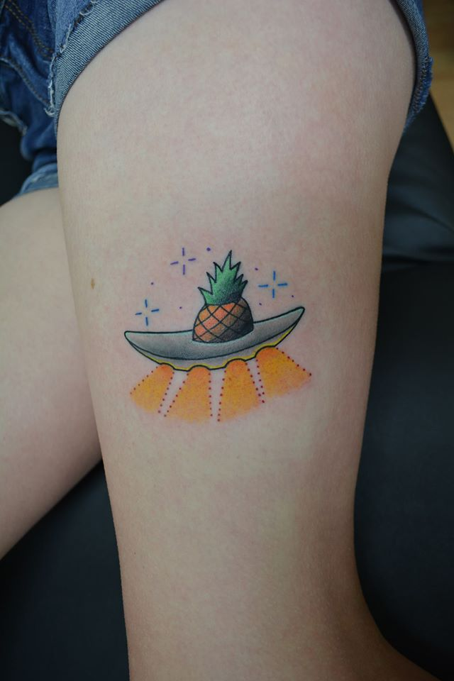 Pineapple Spaceship Tattoo