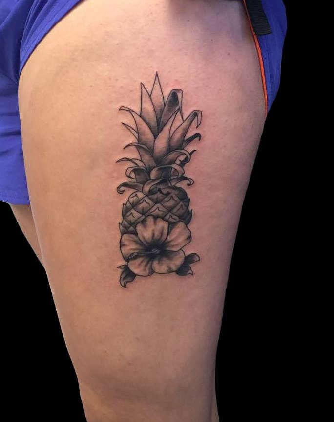 Pineapple With Flower Inked On Thigh