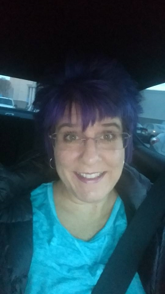 Purple Short Hairs With Bangs
