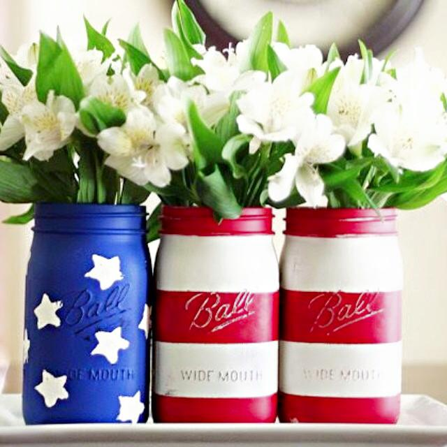 Red, White & Blue Masson Jar