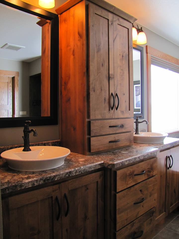 Rustic Double Vanity With Cabinets