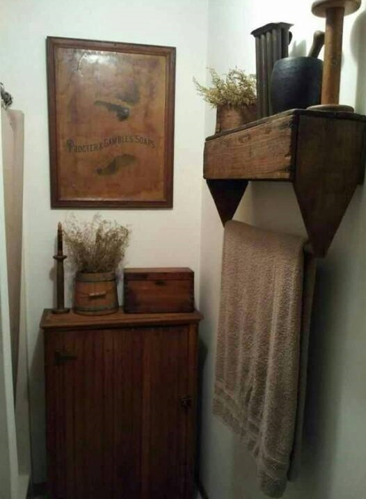 Simple Wooden Towel Rack and Shelf