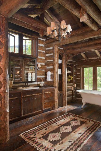 Spacious Rustic Bathroom Decor Idea