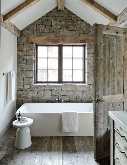 Stone Wall With Wooden Beam