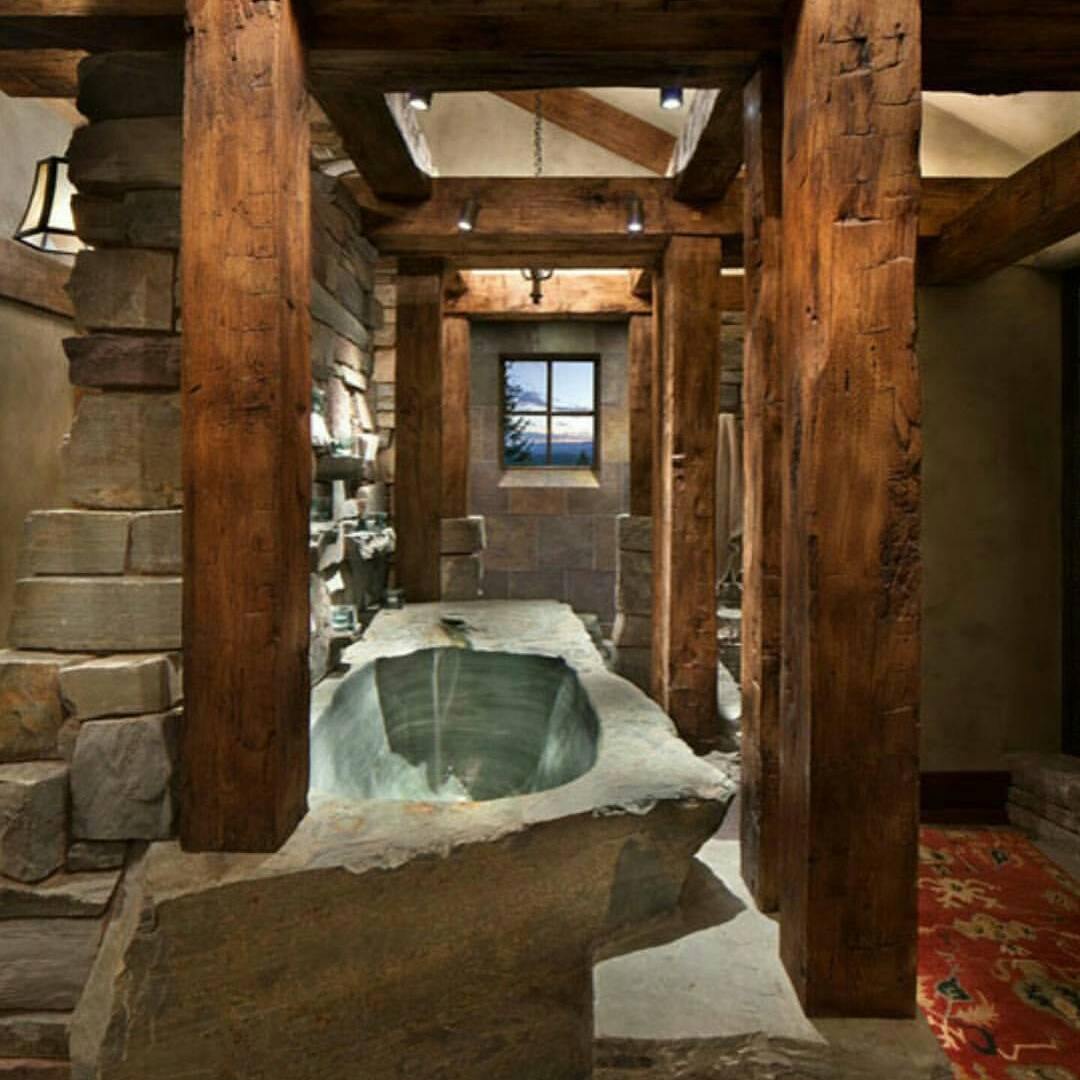 Stone Wall Wooden Pillar With Stone Bathtub Amazing Idea For Rustic Bathroom