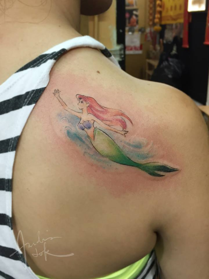 Tiny Mermaid Tattoo On Shoulder