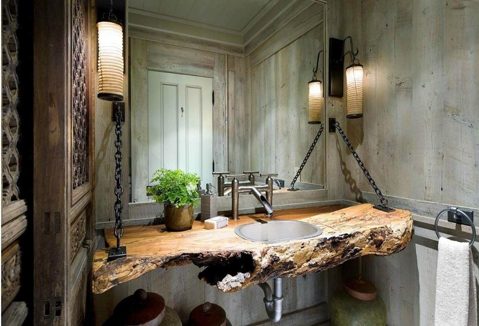 Unique Hanging Driftwood Sink Vanity With Wood Paneled Walls
