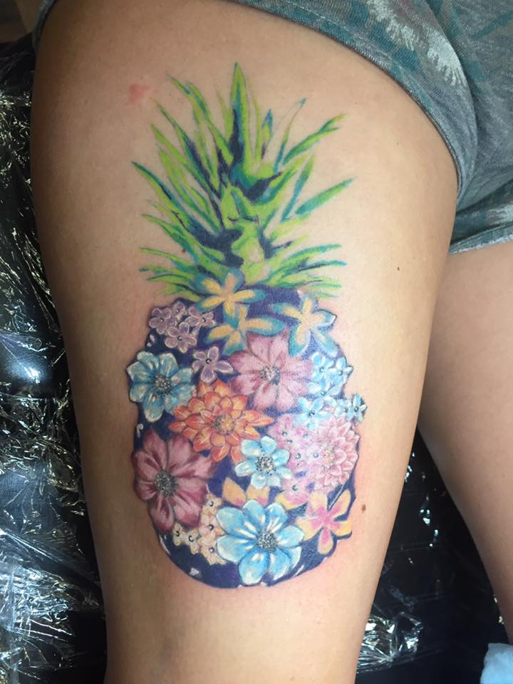 Unique Pineapple Tattoo Idea