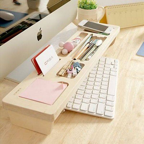 Wooden Keyboard Shelve Idea Perfect For Small Workplace
