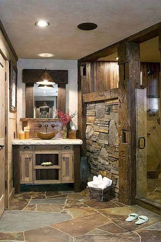 Wooden Vanity With Stone Wall