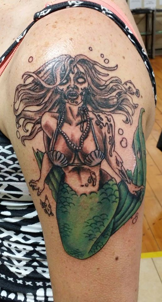 Zombie Mermaid Tattoo Idea